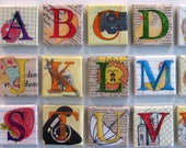 Handmade Mixed Media Alphabet Magnets--Set of 3