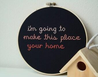 Home cross stitch | Song lyrics | Modern embroidery