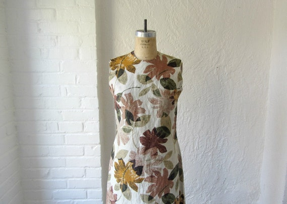 1960s woodland print dress // 60s forest vintage dress // fall fashion