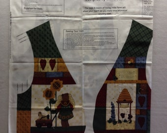 Price Reduced - Vintage Country Bears at Heart Adult Vest fabric panel - designed by Leslie Beck - VIP