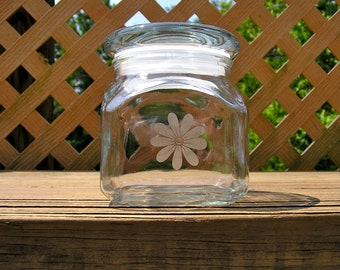 Small Glass Container With Etched Daisy Design