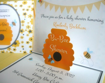 Bumble Bee Invitation, bee invitation, bumble bee pop up invitations, bumble bee birthday invitations, bee invitations, bumble bee birthday