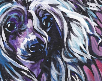 """Chinese Crested art print pop dog art bright colors 8.5x11"""" LEA"""