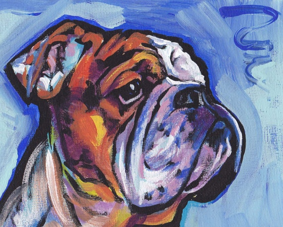 bulldog artwork bulldog dog portrait art print of pop dog paintingt bright 5686