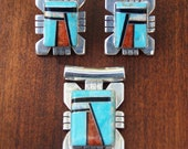 Reserved for Regina  Vintage Turquoise and Coral Zuni Inlay Pendant and Earrings Sterling Silver