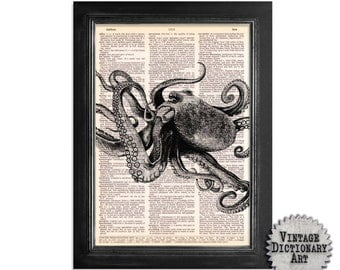 Mighty Octopus in Black & White - Printed on Recycled Vintage Dictionary Paper - 8x10.5