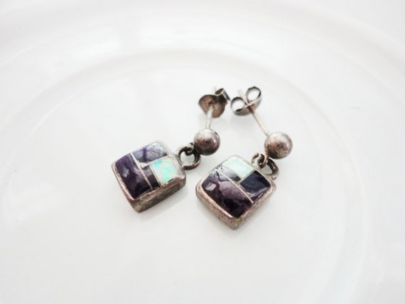 vintage little tiny  sterling silver dangles earrings with glitter  FREE domestic SHIPPING