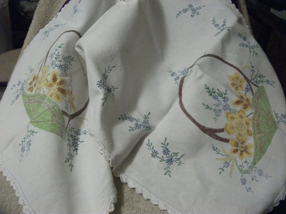 SAlE 20% Off Vintage Linen Table Runner Transfer Printed Ready to Embroider has Crocheted Edges Now ONLY 4.80 USD