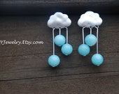 Sweet Summer Rain, Silver Cloud Studs,Weather, Amazonite, Sterling silver posts, Dangling earrings, BIrthday gift, Bridal jewelry