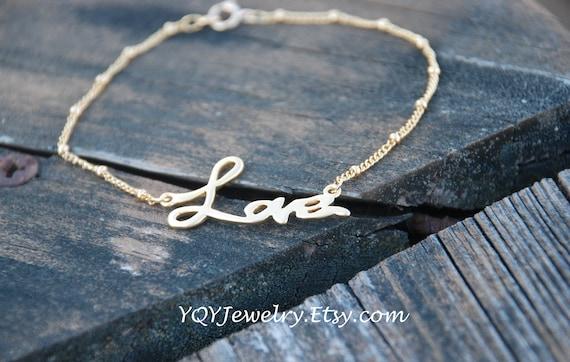 Forever LOVE 14k Gold Filled Chain Bracelet, Love bracelet, 14K gold Bracelet, Bridal Jewelry, Bridesmaids gifts, Birthday Gift