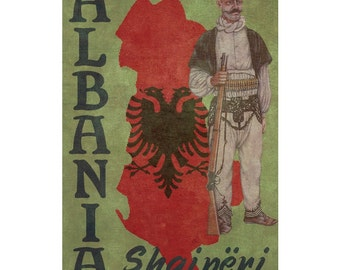 ALBANIA 1F- Handmade Leather Wall Hanging - Travel Art