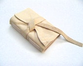 MINI-Rustic Beige Leather Pocket Journal-Handmade