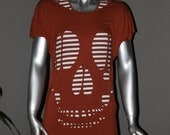 SALE Super Soft Skull Back Cutout Tshirt with Scoop Neck