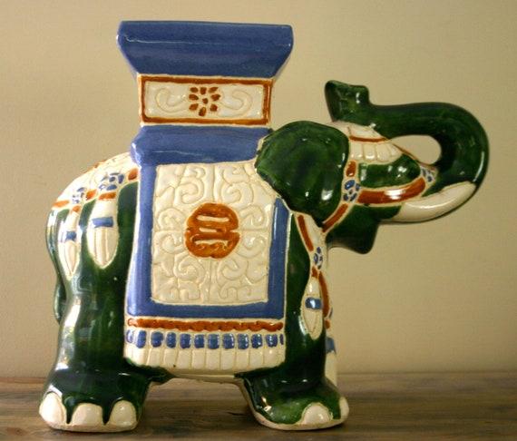 Vintage Ceramic Elephant Plant Stand