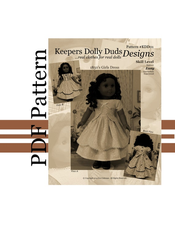 """PDF PATTERN for 1850s Girl's Dress. An Original KeepersDollyDuds Design Fits 18"""" American Girl Doll, Developed By Thimbles and Acorns"""