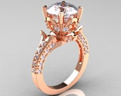 Classic French 14K Rose Gold 3.0 Carat Simulation Diamond CZ Solitaire Wedding Ring R401-14KRGSDCZ