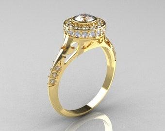 Modern Antique 18K Yellow Gold White Sapphire Diamond Wedding Ring, Engagement Ring R191-18KYGDWS