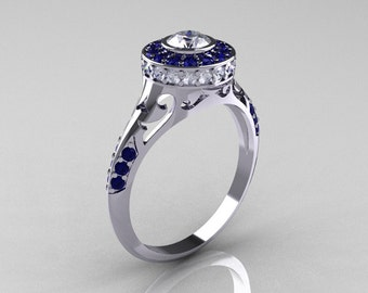 Modern Antique 10K White Gold Blue and White Sapphire Wedding Ring, Engagement Ring R191-10KWGBSWS