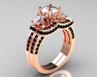 French 14K Rose Gold Three Stone Black Diamond White Sapphire Wedding Ring, Engagement Ring Bridal Set R182S-14KRGBDWS
