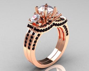 French 14K Rose Gold Three Stone Black Diamond White Sapphire Wedding Ring, Engagement Ring Bridal Set R182S-14KRGBDWS