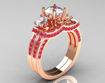 French 14K Rose Gold Three Stone Pink and White Sapphire Wedding Ring, Engagement Ring Bridal Set R182S-14KRGPWS