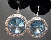 Aquamarine earrings -  Swarovski -  Rivoli - Crystal Earrings - March Birthday - gift -