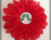 Boutique Hair Clip Flower Very Hungry Caterpillar Red
