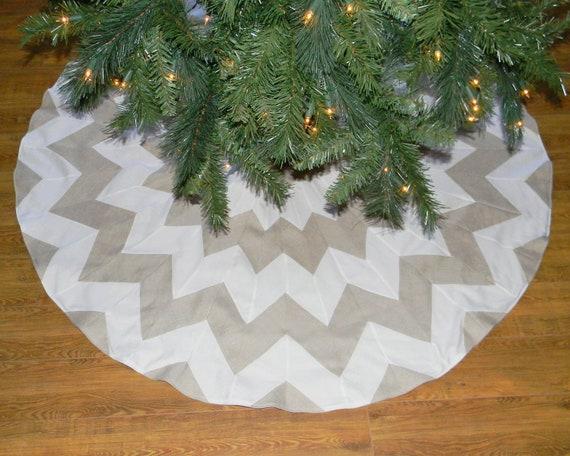 "Chevron Christmas Tree Skirt - 55"" Diameter Ready to Ship"