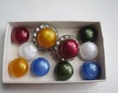 Vintage rhinestone clip on earrings.  Five interchangeable color sets.
