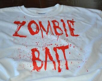 Zombie Bait t shirt funny geeky tshirt geekery screenprint shirt dead horror blood spatter funny zombie tshirt present for boyfriend