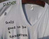 Made to order- Hand Embroidered Gangster V-neck T-shirt