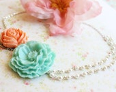 Turquoise Peony Flower Asymmetrical Necklace. Coral and Light Turquoise. Bridemaids Necklace. Beach Wedding. Destination Wedding.