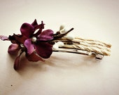 Rustic Purple Flower French Barrette.  Floral Hair Clip. Hair Accessories. Autumn Wedding. Bridesmaids Hair. Fall Wedding. Rustic Wedding.