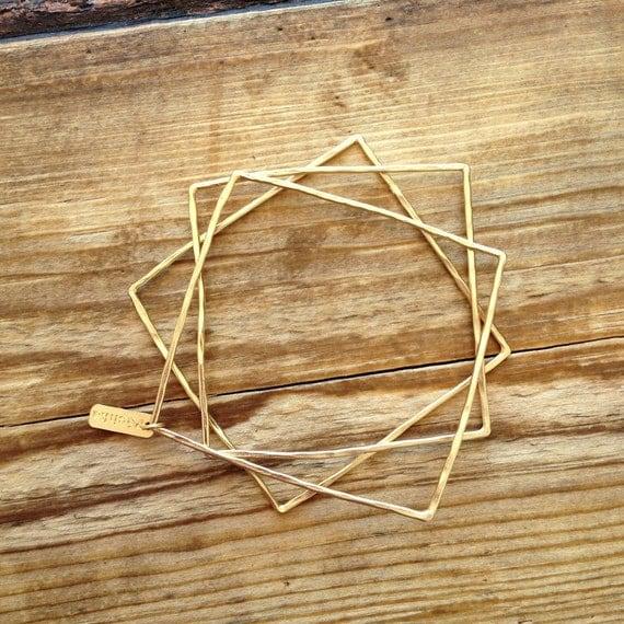 Square bangle bracelets in gold, gold square bangle bracelets, bangle bracelets