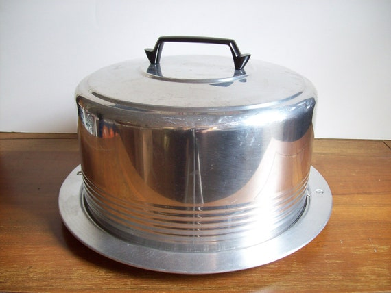 Art Deco Chrome Cake Carrier, Streamline Modern, Vintage