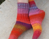 Hand knitted women wool Socks colorful stripes autumn fashion red pink Noro