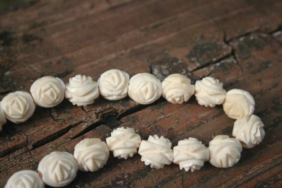 Vintage Carved Bone Rose Necklace