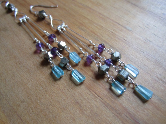 Three Graces . Amethyst, Pyrite and Apatite Sterling Silver Wire Wrapped Chandelier Earrings