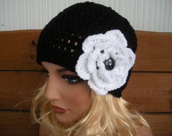 Womens Hat Crochet Hat Winter Fashion Accessories Women Beanie Hat Cloche Winter Hat in Black with White Crochet Flower