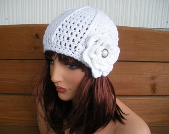 Crochet Hat Womens Hat Winter Fashion Accessories Women Beanie Hat Cloche White with Crochet Flower by creationsbyellyn