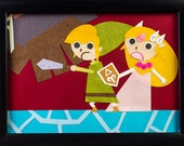 The Legend of Zelda - Phantom Hourglass 7x5 Framed Original Papercut Scene of Link and Zelda in battle
