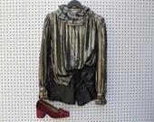 vintage 70s / gold metallic / ruffle collar and sleeve / blouse