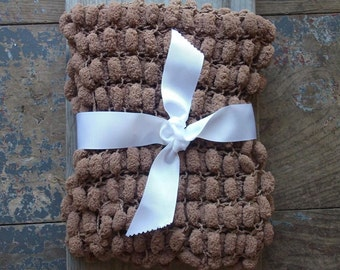 Woodland Baby Photography Prop Soft Plush Pom Pom Comfort or Security Blanket / Brown