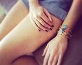 statement everyday bracelet summer fashion sky navy turquoise BLUE  jade stone matte textured gold frame gemstone BRACELET israel jewelry