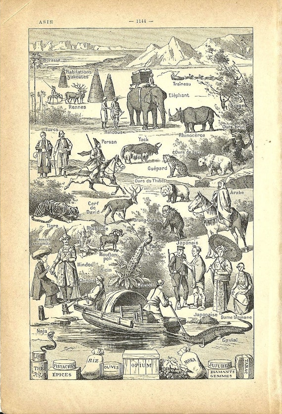 1930s - Native asians and animals vintage MAP of ASIA French Dictionary page print