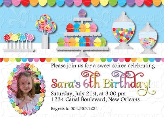 Sweet shop/candy buffet birthday party invitation