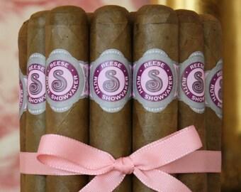 16 Cigar Bands - Custom Printed Pink Labels - Regal Baby Girl