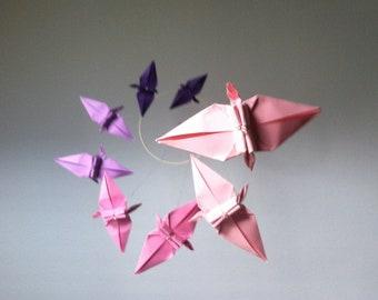 Purple 2 Pink Ombré Origami Crane Mobile