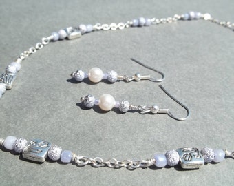 SALE...Light Purple Beaded Necklace Earring Set Gift For Her Periwinkle Jewelry Purple Lilac Jewelry Friends