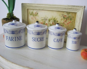 French/Italian Blue Kitchen Dollhouse Canisters 1/12 scale
